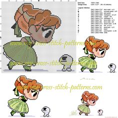 Anna chibi cross stitch pattern