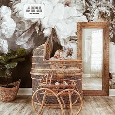 Gorgeous nursery with wicker moises