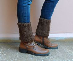 Brown Boot Cuffs Boot Toppers Knit Leg Warmers by fizzaccessory, $20.00