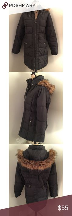 Lane Bryant Plus Size Puffer Coat with Fur Trim Cozy puffer coat warms those chilly days in always-chic style with a mixed quilted motif and optional hood with faux fur trim.       •Attached snap-closure belts adjust and define the waist to flatter your shape.                                            •Full lining and a ribbed turtleneck keep you extra warm all season long, with easy zip-front closure.                                                      •Zippered pockets complete the look…