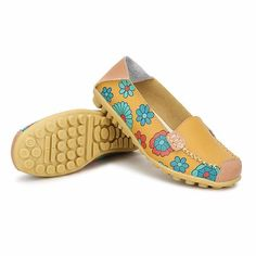 new style db9df 4515a Big Size Women Flower Floral Leather Loafers Moccasins Flats Soft Ballet  Shoes Round Toe Flats -