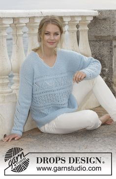 Matelot / DROPS 188-21 - Knitted jumper with lace pattern, garter stitch, V-neck and split in sides. Sizes S - XXXL. The piece is worked in DROPS Air.