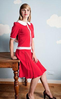 Rotes knielanges 60er Jahre Jerseykleid von Peppermint-Patty auf DaWanda.com