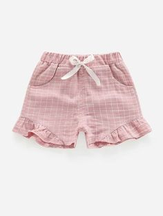 Toddler Girls Plaid Print Bow Front Shorts – Kidenhouse Belted Shorts, Boho Shorts, Toddler Girl Shorts, Toddler Girls, Dusty Purple, Purple Fashion, Rolled Hem, Vertical Stripes, Cute Pattern