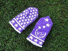 Ravelry: Man in the Moon Mittens pattern by Cindy Craft Mittens Pattern, Knit Mittens, Knitted Gloves, Fingerless Gloves, Sport Weight Yarn, Deep Purple, Pattern Making, Moon, Knitting