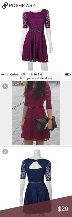 Lace skater dress Open back lace skater junior dress.  Color cranberry.  Stock photo in blue shoes the back of the dress. Dresses