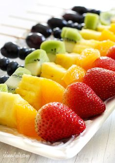 Rainbow fruit skewers with yogurt fruit dip