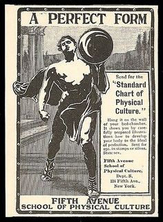 Bodybuilder 1901 Ad 5th Ave School of Physical Culture NY Muscle Man