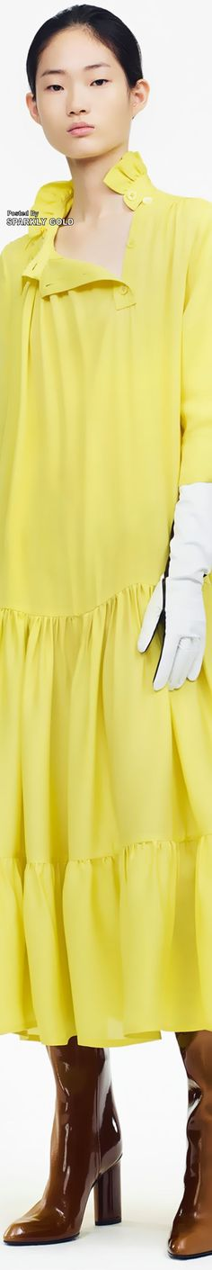 Calvin Klein Pre-Fall 2019 pin by Sparkly Gold Fashion Models, Fashion Outfits, Womens Fashion, Fashion Trends, Calvin Klein Collection, Yellow Fashion, Shades Of Yellow, Free Clothes, Fashion Addict