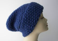 ICELANDIC LOPI WOOL Slouchy Beanie Baggy Fold Up Hat in Navy Blue / Lopi yarn…