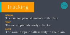 Traacking: La cantidad de espaciado entre caracteres en una frase, línea, párrafo, página, etcétera.
