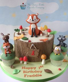Woodland cake - The Clever Little Cupcake Company Animal Birthday Cakes, Animal Cakes, Themed Birthday Cakes, Themed Cakes, Birthday Cupcakes, Woodland Theme Cake, Fox Cake, Celebration Cakes, Baby Shower Cakes