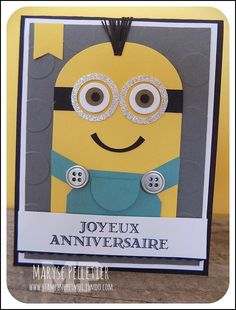 Cartes - Carterie sur mesure Scrapbook Page Layouts, Scrapbook Pages, Punch Art, Stamping Up, Kids Cards, Making Ideas, Minions, Birthday Cards, Card Making