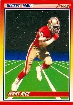 Jerry Rice Football Card (San Francisco 49ers) 1990 Score #556 by Hall of Fame Memorabilia. $30.95. Jerry Rice Football Card (San Francisco 49ers) 1990 Score #556. Signed items come fully certified with Certificate of Authenticity and tamper-evident hologram.
