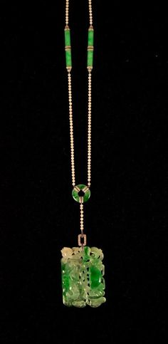 Platinum, Jadeite, Pearl, Diamond, and Sapphire Necklace