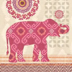 "Portfolio Canvas 'Jaipur Elephant' by Jennifer Brinley Graphic Art on Wrapped Canvas Size: 24"" H x 24"" W x 1.5"" D"