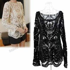 Women's Semi Sexy Sheer Sleeve Embroidery Floral Lace Crochet Tee T-Shirt Top T shirt free shipping 9015 $12.10