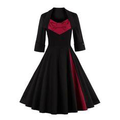 Retro Big Bow Design Color Block Sweetheart Neck Dress