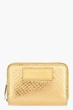 Libra-SAINT LAURENT Metallic Gold Pythonskin Zip Wallet