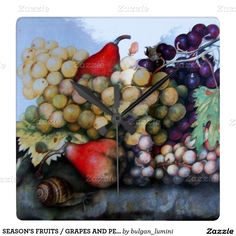 SEASON'S FRUITS / GRAPES AND PEARS SQUARE WALLCLOCK