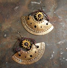 Earrings A New Sun for Ancient Egypt by fuzzerbee on Etsy