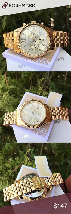Men's Michael Kors Lexington MK Glam Watch MK8281 LAST 1! / New Authentic MK8281 / Model: Lexington / Retail: $275 / Charming gold stainless steel with chronograph dial / Michael Kors watch box and owners booklet included / 45mm case / 10 ATM / UPC: 691464950507 / No trades. Buy now or offer only - Same business day shipping (SOLD OUT. PLEASE CHECK BACK SOON) Michael Kors Accessories Watches