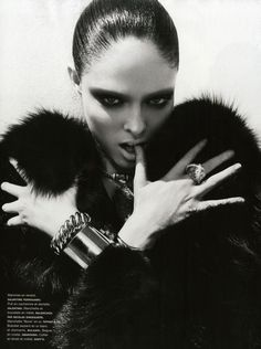 Normally advertisers go with safe faces, plain yet beautiful but with Coco Rocha they buy into that dark almost Gothic look for her strong and powerful aesthetic. Description from stylenoir.co.uk. I searched for this on bing.com/images