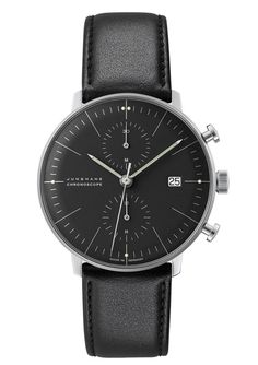 Buy Junghans Men's Max Bill Chronoscope Leather Strap Watch, Black from our Men's Watches range at John Lewis & Partners. Rolex, Junghans Max Bill Chronoscope, Patek Philippe, Breitling, Herren Chronograph, Style Classique, Elegant Watches, Unique Watches, Retro Watches