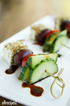 """Greek Salad on a Stick   """"I whisked together some olive oil and balsamic vinegar and drizzled it over the top. Rave reviews."""""""