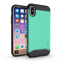 iPhone X Case, TUDIA Slim-Fit HEAVY DUTY [MERGE] EXTREME Protection / Rugged but Slim Dual Layer Case for Apple iPhone X (Mint)