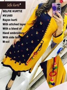 Yellow Rayon Embroidered Worked With Side Latkan Stitched Kurti