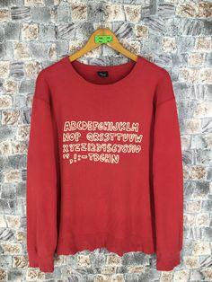 ff2717aa1 KEITH HARING Pullover Sweater Large Mens Vintage 90s K. Haring Pop Art  Alphabet Numeric Artwork Sweatshirt Crewneck Red Jumper Size L