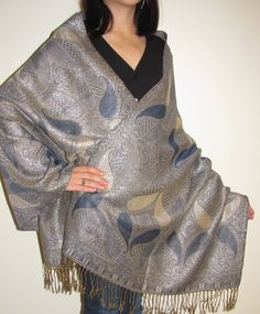 This Navy & Beige Gold Shiny Pashmina shawl is a dressy Shawl Wrap in a thicker ply, that is designer unique and elegant.