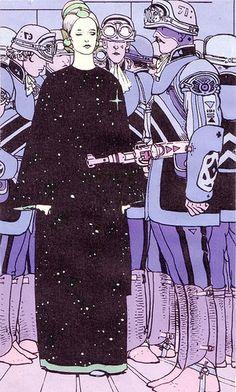 Illustration by Jean Giraud, aka Moebius. Jean Giraud, Art Et Illustration, Illustrations, Art Science Fiction, Pulp Fiction, Moebius Art, Moebius Comics, Arte Sci Fi, 70s Sci Fi Art