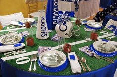 Super bowl / football party ideas..I pinned this mostly to remember the fake grass-on-the-table idea