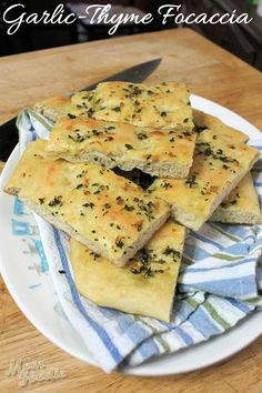 Garlic Focaccia Bread with Thyme (recipe) adapted from @Angela Martin Light