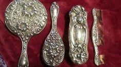 Vanity-Grooming-Or-Dresser-Set-Sterling-Silver-Fine-Art-Nouveau