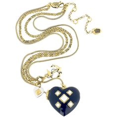 Juicy Couture Double chain pendant necklace ($69) ❤ liked on Polyvore featuring jewelry, necklaces, accessories, colares, juicy couture, juicy couture charms, anchor charm, heart charm, pendant necklace and heart shaped necklace