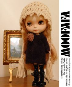 Dark Brown Sweater Dress   Blythe knitting Dress by moofafa