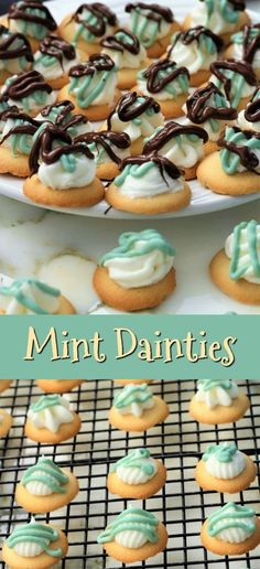 Mint dainties are a perfect little cookie for special get togethers. The mint flavor with the mint chocolate on top and topped with more chocolate. Wafer Cookies, Mint Cookies, Vanilla Cookies, My Recipes, Holiday Recipes, Cooking Recipes, Favorite Recipes, Michelada Recipe, Best Party Food