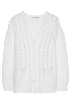 White cable-knit mohair-blend Button fastenings through front mohair, polyamide, wool Dry clean Cable Knit Cardigan, Wrap Sweater, Cashmere Cardigan, Michael Kors Sandals, Michael Kors Collection, Love At First Sight, Sweaters, Clothes, Shopping