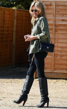 On Kate Moss: Topshop jacket; Chanel bag; Christian Louboutin boots. Style Notes: This is like Step 1 for beginners: Black jeans and black knee-highs are the most flattering way to do...