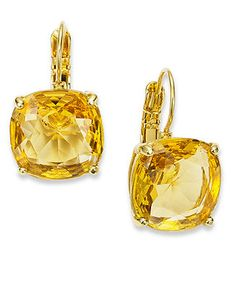 kate spade new york Earrings, 12k Gold-Plated Colorado Crystal Square Leverback Earrings