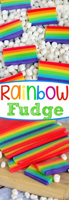 I'm a firm believer in enjoying fudge year-round – not just during the holiday season. I love how perfect this Easy Rainbow Fudge is for St. Patrick's Day, but it's also great for birthdays and for days when rainbows are a must. Best served on marshmallow clouds. // Mom On Timeout