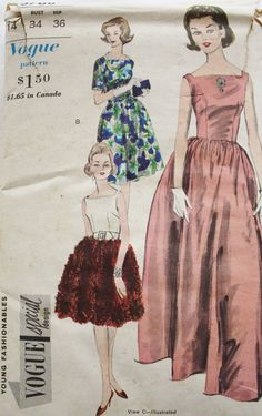 1960s Evening Gown Dress Vogue 5768 Sewing by BluetreeSewingStudio