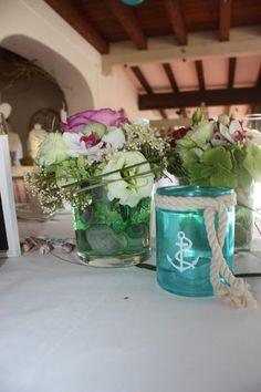 Tischdekoration zur Hochzeit in Türkis, Weiß, Beere mit Muscheln ...