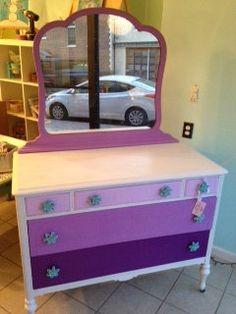 Purple Lavandar Color Blocked Dresser - for the Girl's room