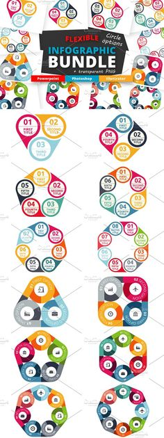 Flexible Infographic - Options by Infographic Paradise on @creativemarket. Flexible infographic - options edition. This set of infographic is a collection of option elements from my previous sets of infographic assets. High quality graphic will help you to finish your project in seconds. Flexible infographic is available in most used formats: PPTX, PSD, AI CS5, EPS CS, PNG with transparent background and without icons and text.