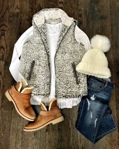 WINTER FASHION TRENDS Ugg Mckay waterproof winter bootie, sherpa vest, cream james perse tee, cream beanie with pom pom and distressed jeans. Great outfits to look stylish in cooler months. Cute Fall Outfits, Fall Winter Outfits, Winter Wear, Autumn Winter Fashion, Casual Outfits, Winter 2017, Winter Style, Winter Dresses, Girly Outfits