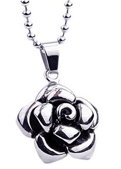 JSDY Womens Stainless Steel 3D Rose Flower Design Pendants Unique Necklaces >>> Click on the image for additional details.